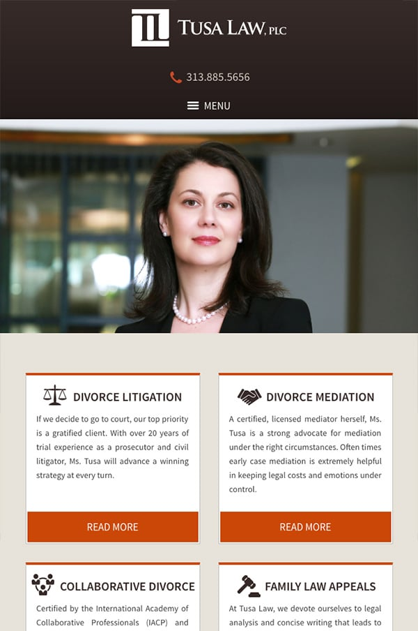 Mobile Friendly Law Firm Webiste for Tusa Law, PLC