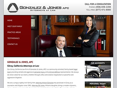 Law Firm Website design for Gonzalez & Jones, APC