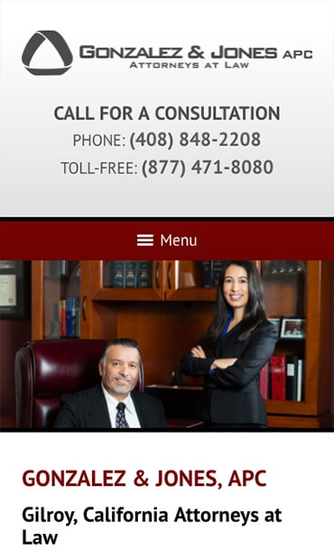 Responsive Mobile Attorney Website for Gonzalez & Jones, APC