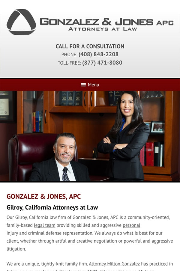 Mobile Friendly Law Firm Webiste for Gonzalez & Jones, APC