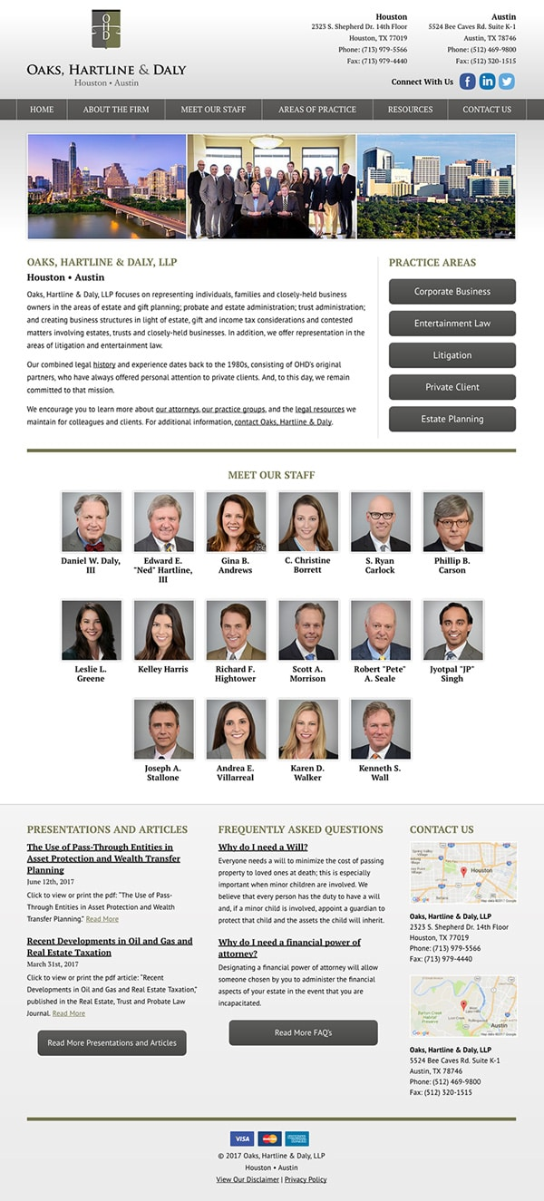 Law Firm Website for Oaks, Hartline & Daly, LLP