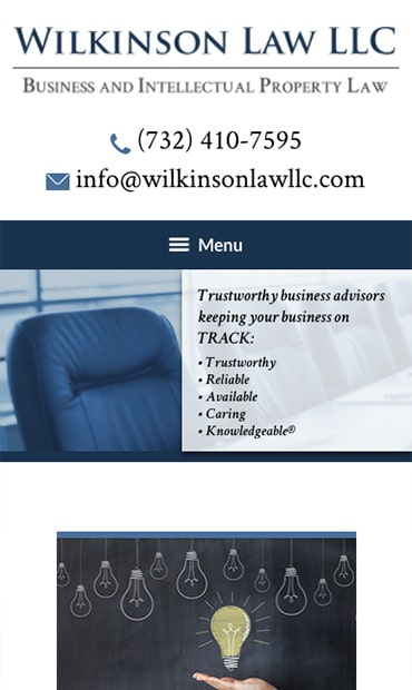 Responsive Mobile Attorney Website for Wilkinson Law LLC