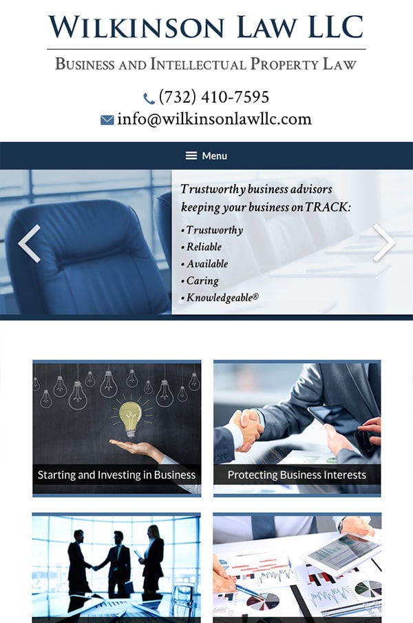 Mobile Friendly Law Firm Webiste for Wilkinson Law LLC