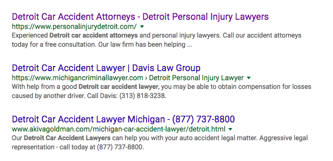 SERP for Detroit Car Accident Attorneys