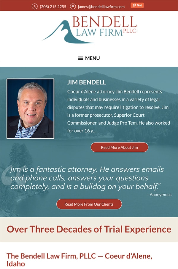 Mobile Friendly Law Firm Webiste for The Bendell Law Firm, PLLC
