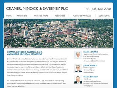 Law Firm Website design for Cramer, Minock & Sweeney…