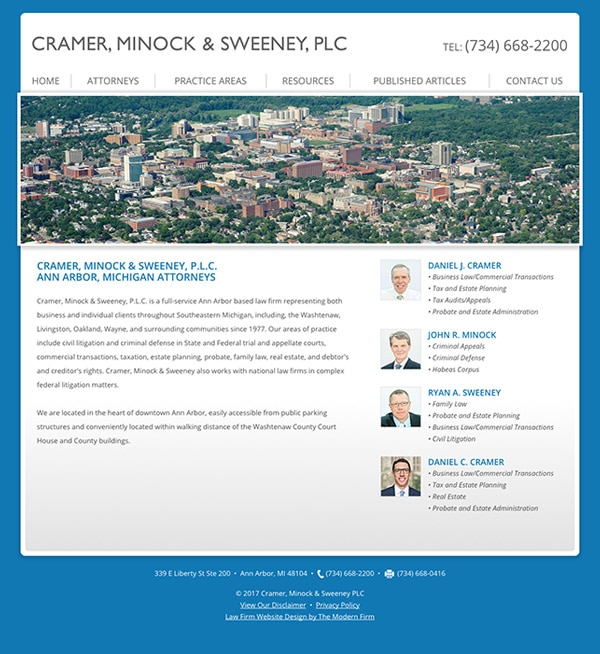 Website Design for Ann Arbor Law Firm Cramer, Minock & Sweeney