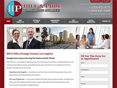 Law Firm Website design for Hill & Piibe, Immigration…