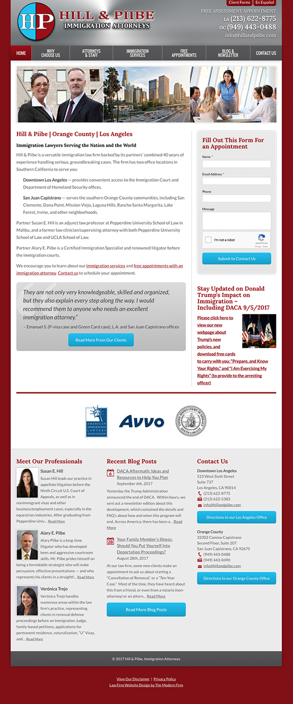 Law Firm Website Design for Hill & Piibe, Immigration Attorneys