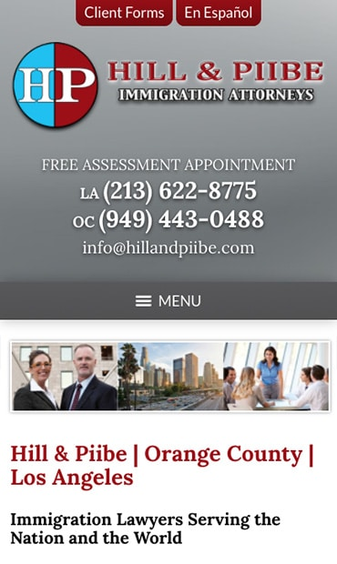 Responsive Mobile Attorney Website for Hill & Piibe, Immigration Attorneys