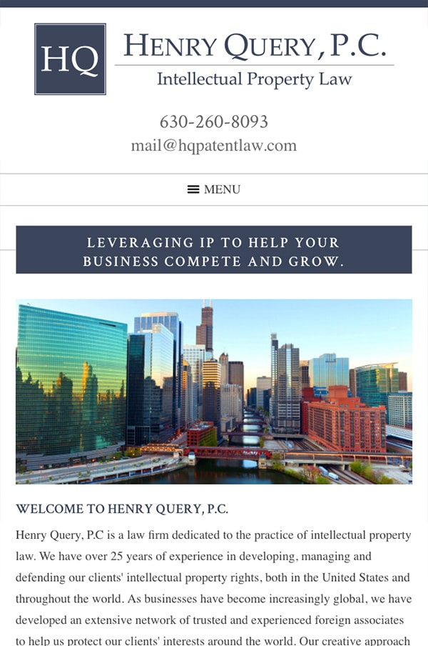 Mobile Friendly Law Firm Webiste for Henry Query, P.C.