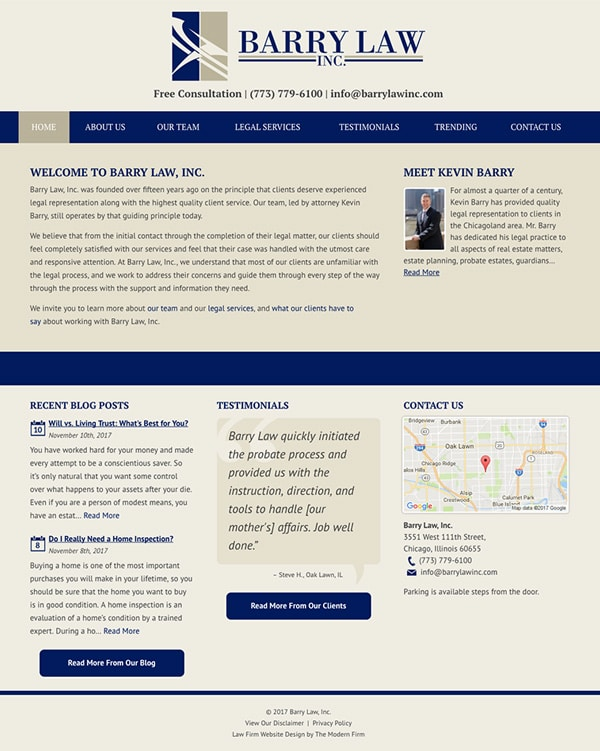 Law Firm Website for Barry Law, Inc.