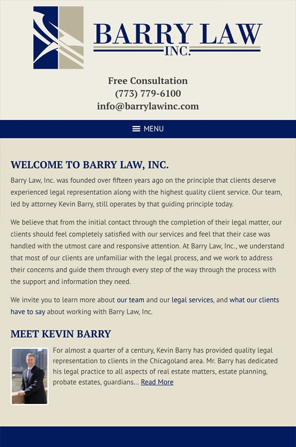 Mobile Friendly Law Firm Webiste for Barry Law, Inc.