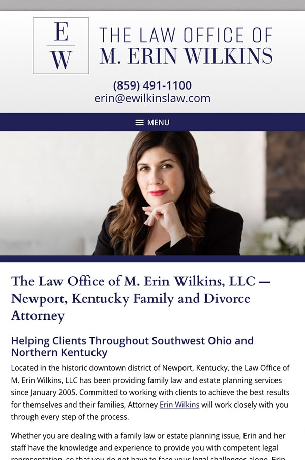 Mobile Friendly Law Firm Webiste for Law Office of M. Erin Wilkins, LLC