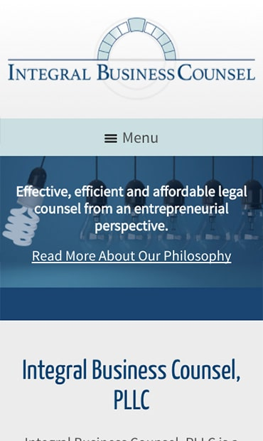 Responsive Mobile Attorney Website for Integral Business Counsel PLLC
