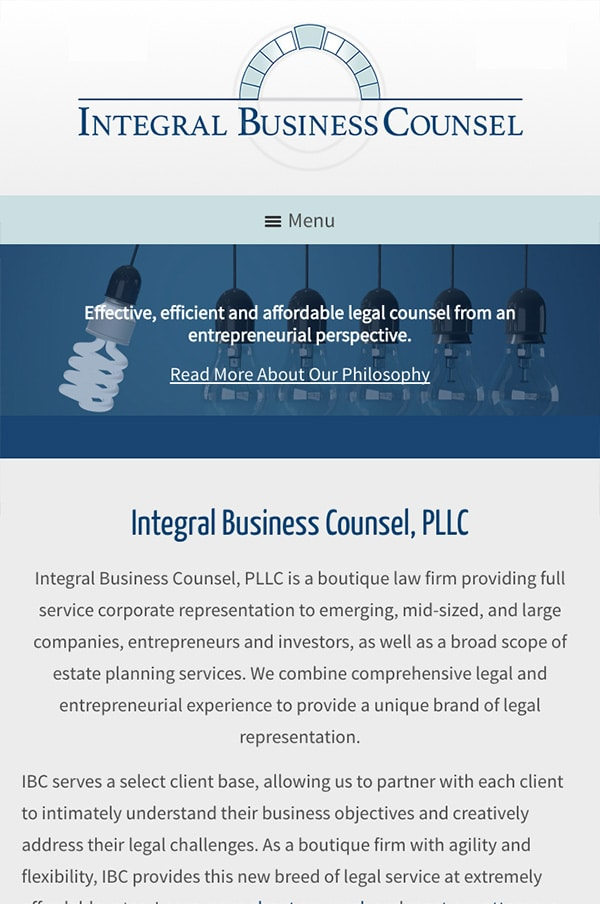 Mobile Friendly Law Firm Webiste for Integral Business Counsel PLLC