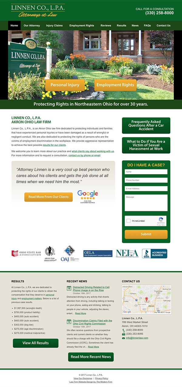 Law Firm Website Design for Linnen Co., L.P.A.