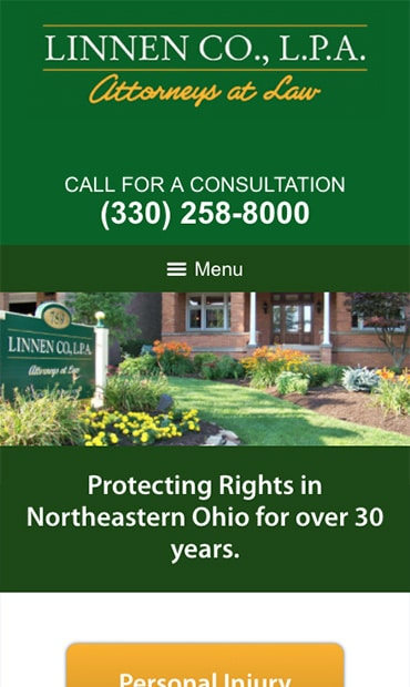 Responsive Mobile Attorney Website for Linnen Co., L.P.A.