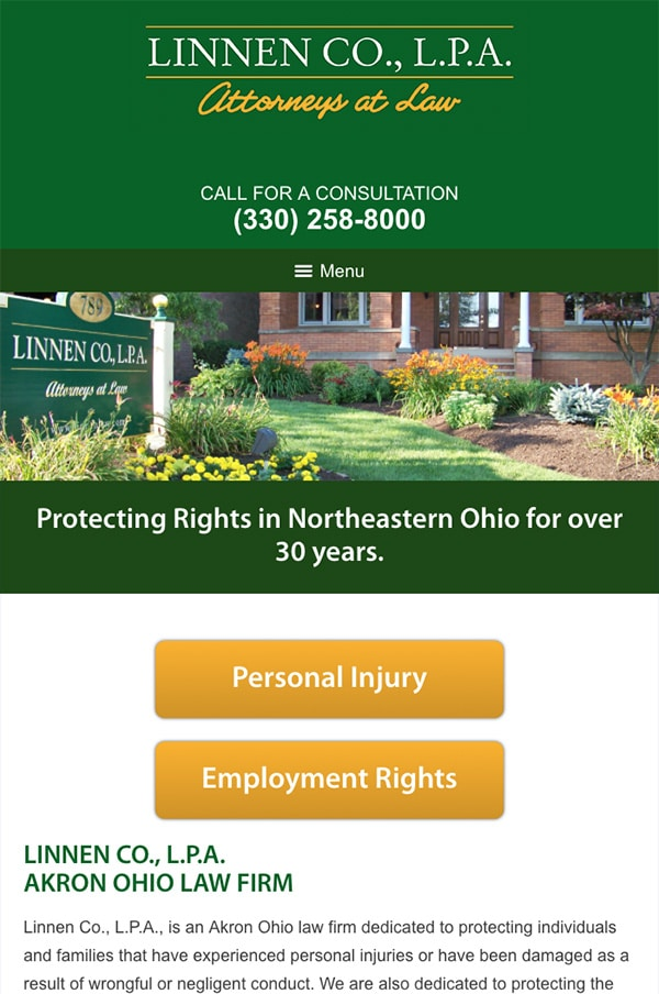 Mobile Friendly Law Firm Webiste for Linnen Co., L.P.A.