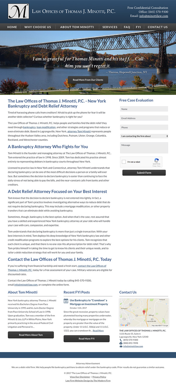Law Firm Website for The Law Offices of Thomas J. Minotti, P.C.