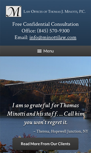 Responsive Mobile Attorney Website for The Law Offices of Thomas J. Minotti, P.C.