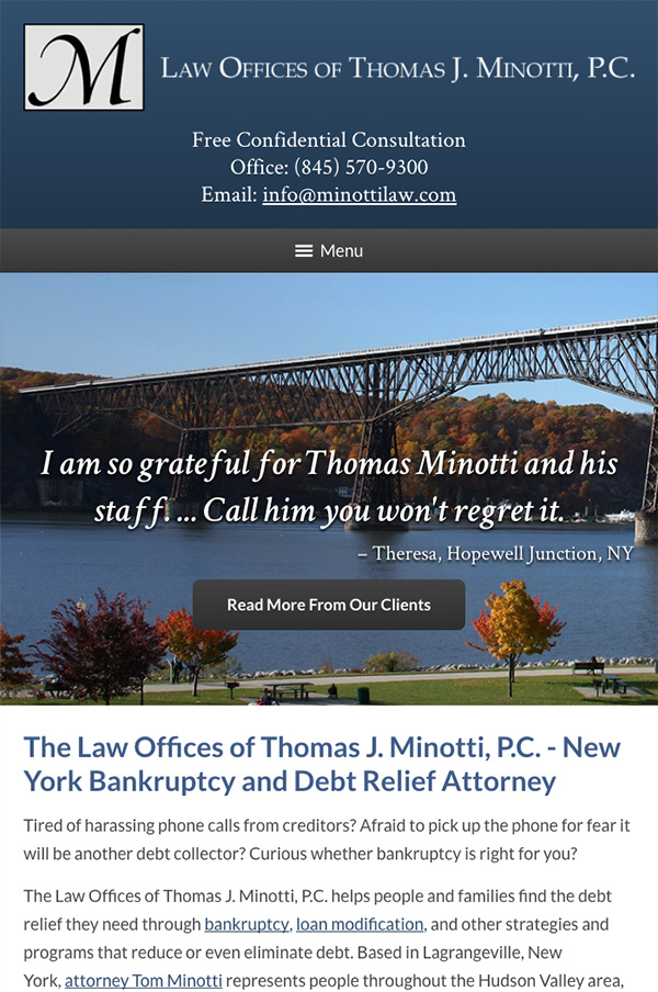 Mobile Friendly Law Firm Webiste for The Law Offices of Thomas J. Minotti, P.C.