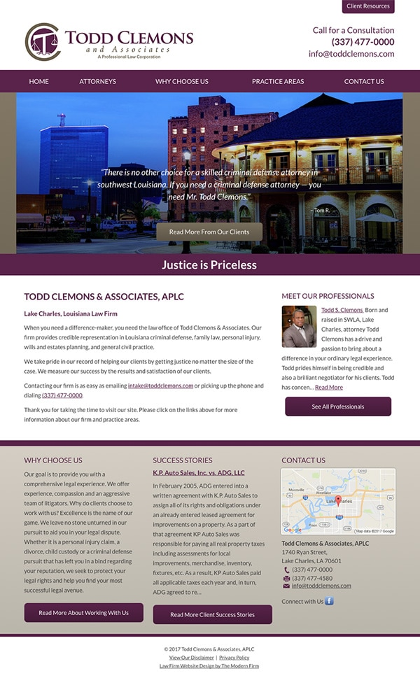 Law Firm Website Design for Todd Clemons & Associates, APLC