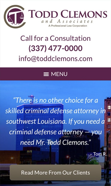 Responsive Mobile Attorney Website for Todd Clemons & Associates, APLC
