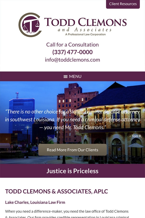 Mobile Friendly Law Firm Webiste for Todd Clemons & Associates, APLC