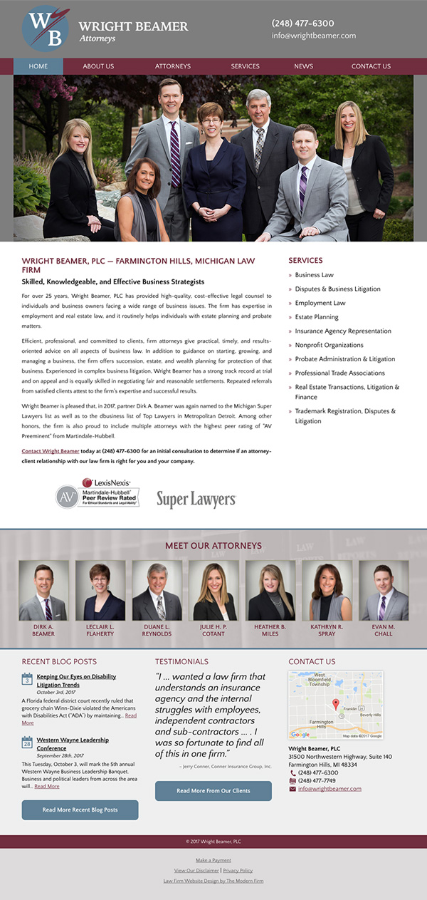 Website Design for Michigan Law Firm Wright Beamer