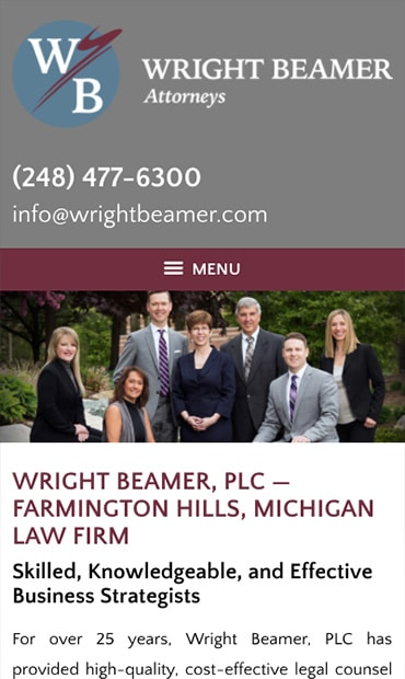 Responsive Mobile Attorney Website for Wright Beamer, PLC