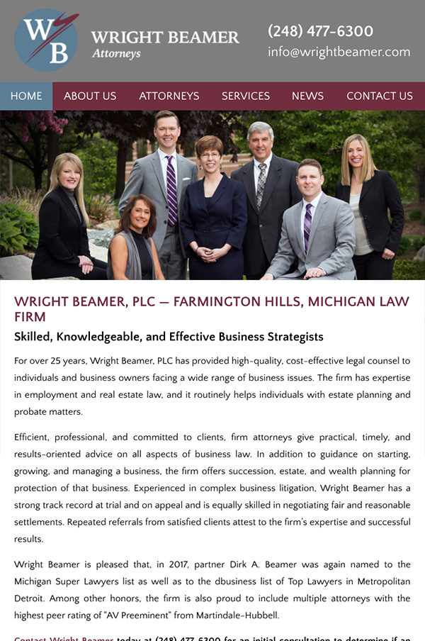 Mobile Friendly Law Firm Webiste for Wright Beamer, PLC
