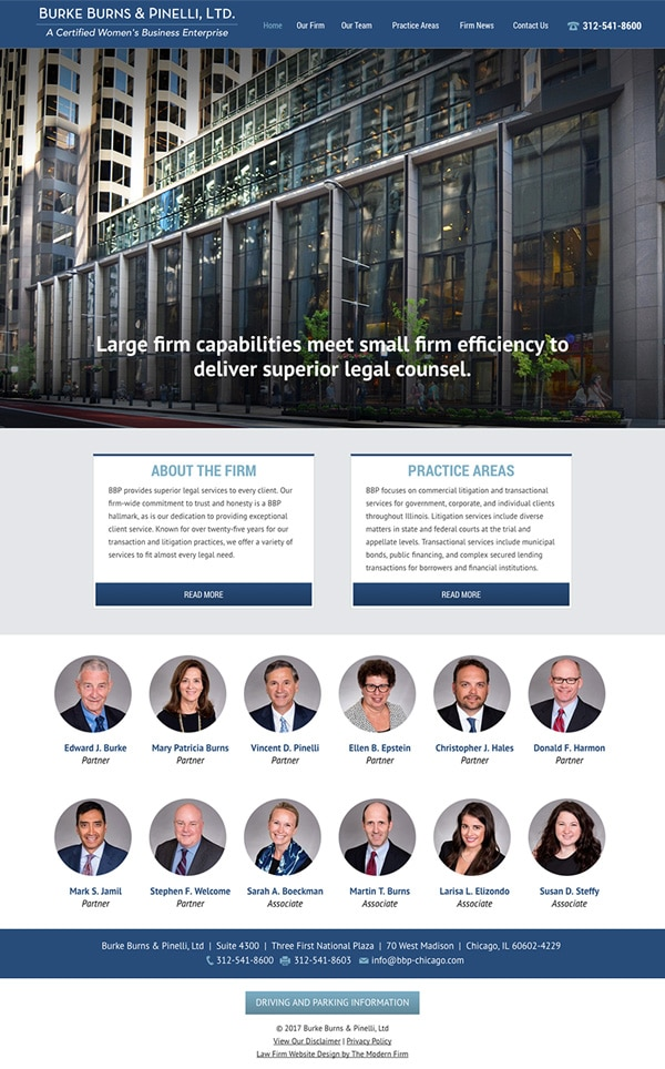Law Firm Website Design for Burke Burns & Pinelli, Ltd