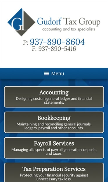 Responsive Mobile Attorney Website for Gudorf Tax Group, LLC