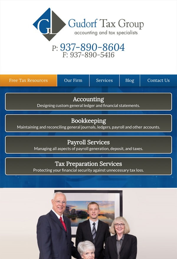 Mobile Friendly Law Firm Webiste for Gudorf Tax Group, LLC