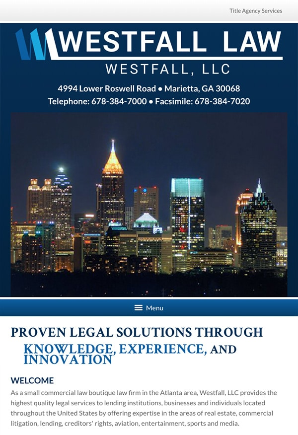 Mobile Friendly Law Firm Webiste for Westfall, LLC