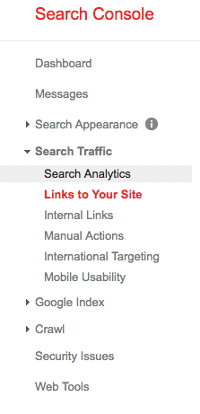 Google analytics console