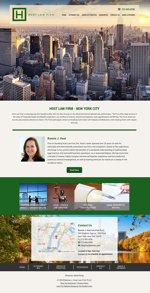 Law Firm Website Design for Bonnie J. Host Law Firm PLLC