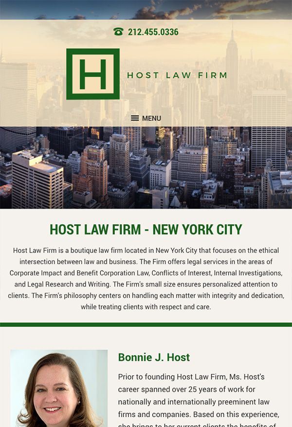 Mobile Friendly Law Firm Webiste for Bonnie J. Host Law Firm PLLC