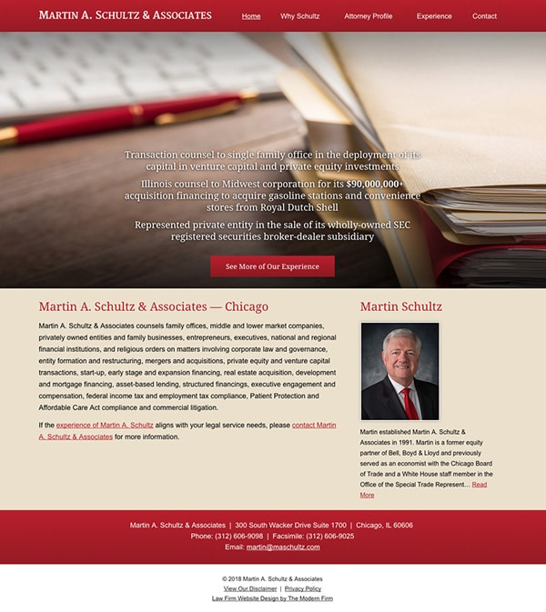 Law Firm Website Design for Martin A. Schultz & Associates