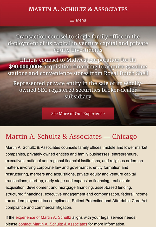 Mobile Friendly Law Firm Webiste for Martin A. Schultz & Associates
