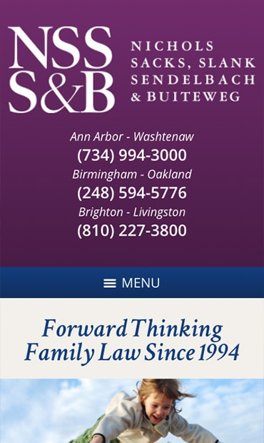Responsive Mobile Attorney Website for Nichols, Sacks, Slank, Sendelbach & Buiteweg, P.C.