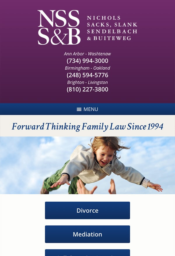 Mobile Friendly Law Firm Webiste for Nichols, Sacks, Slank, Sendelbach & Buiteweg, P.C.