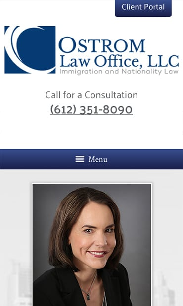 Responsive Mobile Attorney Website for Ostrom Law Office
