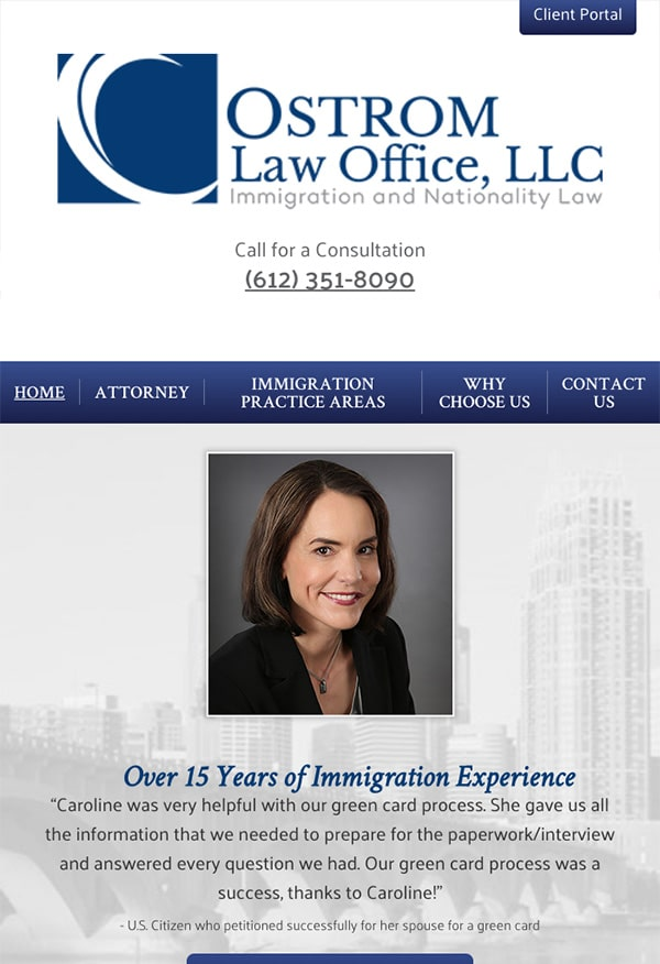 Mobile Friendly Law Firm Webiste for Ostrom Law Office