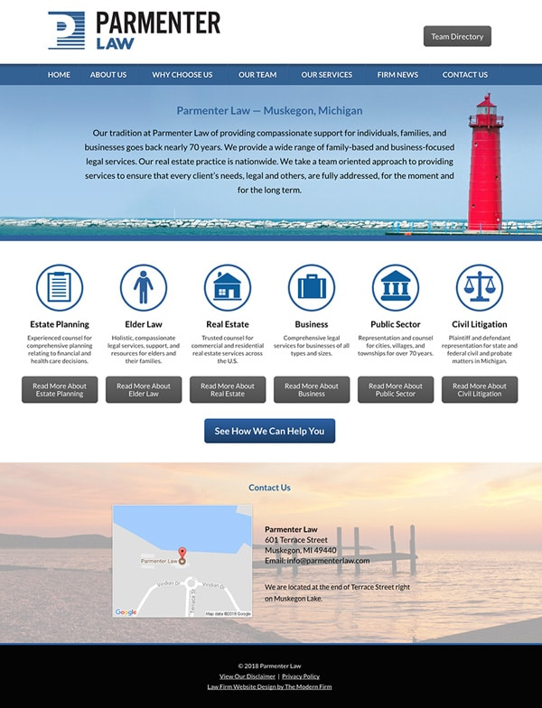 Law Firm Website Design for Parmenter Law