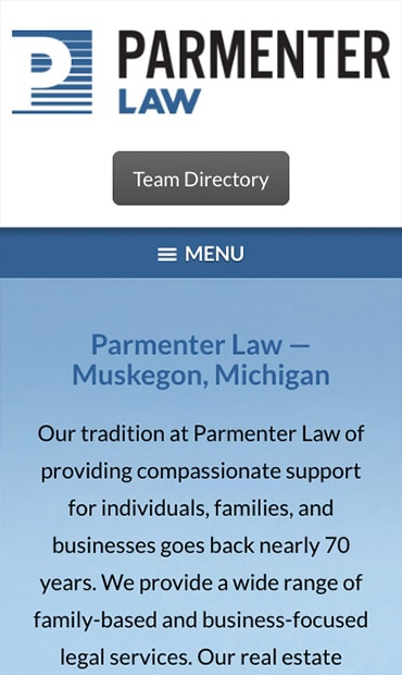 Responsive Mobile Attorney Website for Parmenter Law