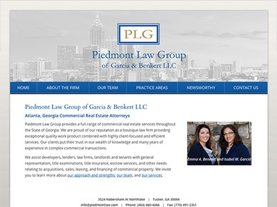 Law Firm Website design for Piedmont Law Group of Gar…
