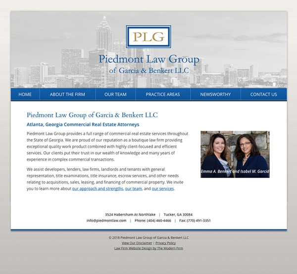 Law Firm Website Design for Piedmont Law Group of Garcia & Benkert LLC