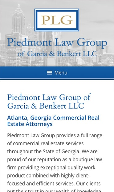Responsive Mobile Attorney Website for Piedmont Law Group of Garcia & Benkert LLC